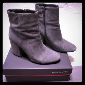 Grey Suede and Leather Zip Boots 9.5 Vince Camuto